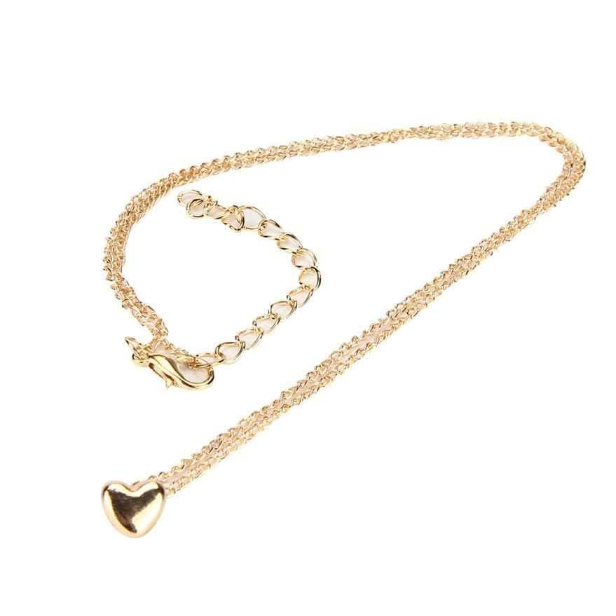 OTOKY wisiorki naszyjniki nowy modny wisiorek Choker Chunky komunikat miłość naszyjnik w kształcie serca łańcuch złoty Collier Feb27