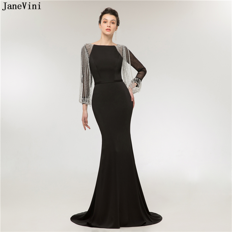JaneVini Sexy Black Evening Gown Mermaid Sweep Train Heavy Beading Long Sleeve Evening Gown Zipper Back Women Gowns Long Dresses gown