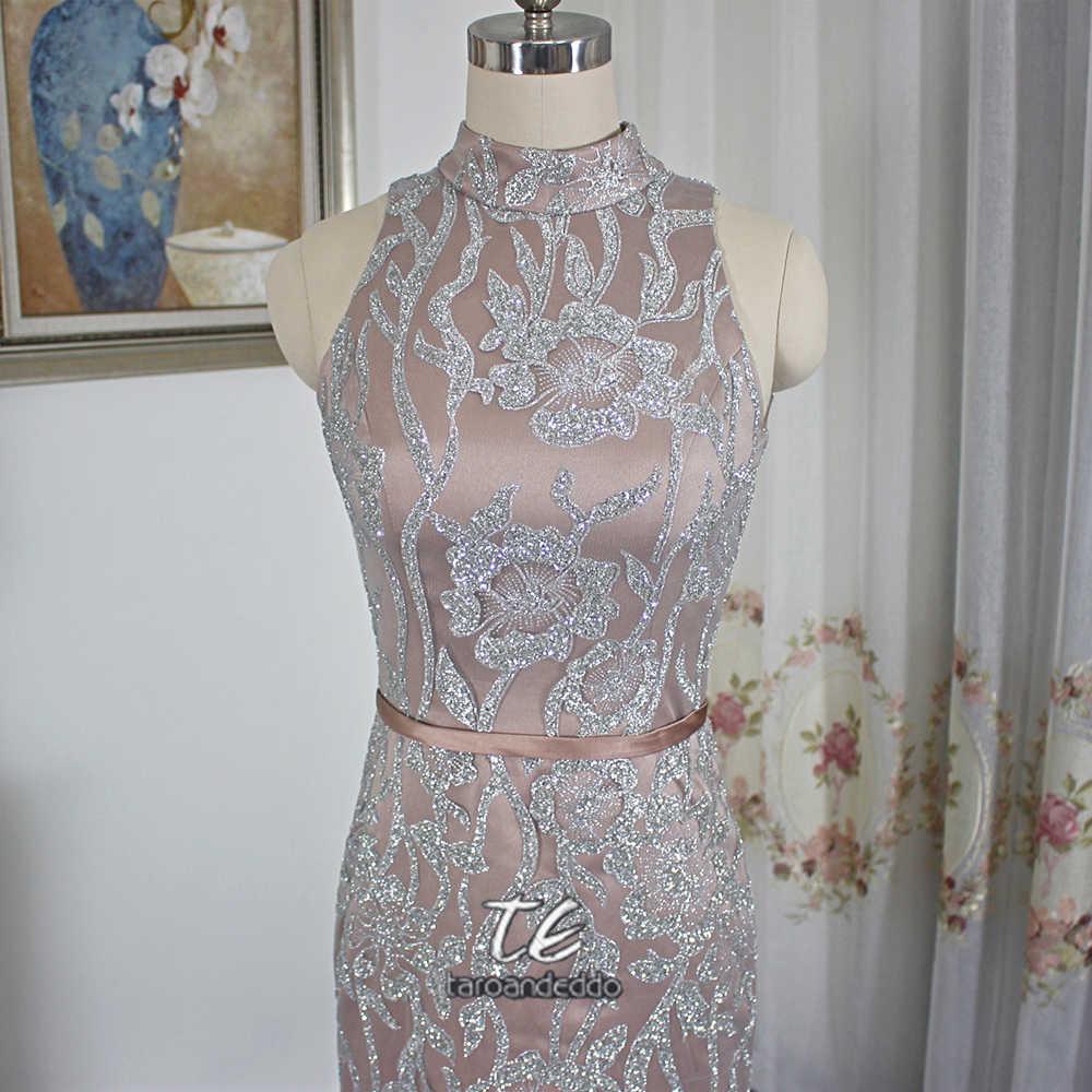 Изысканное дизайнерское платье для выпускного вечера с высоким воротом и блестками из двух частей, вечернее платье в стиле Саудовской Аравии со съемной юбкой