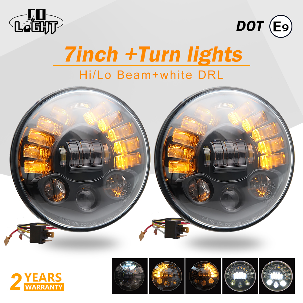 CO LIGHT 7 inch Led Headlights 70W H4 Daytime Running Lights Angel Eyes for Niva Lada 4X4 Jeep Toyota Hummer Land Rover Defender co light 7 inch led headlights daytime running lights 75w angel eye hi lo led lamp for auto niva 4x4 jeep wrangler car accessory