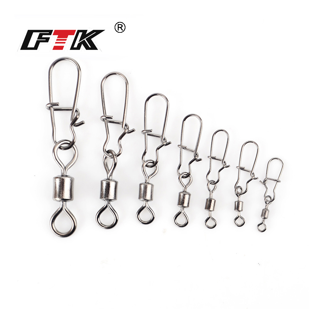 FTK 1 Pack 1/0# 3/0# 2# 4# 6# 8# 10# 12# Fishing Rolling Swivel With Fast Lock Snap Fish Hook Lure Connector Terminal