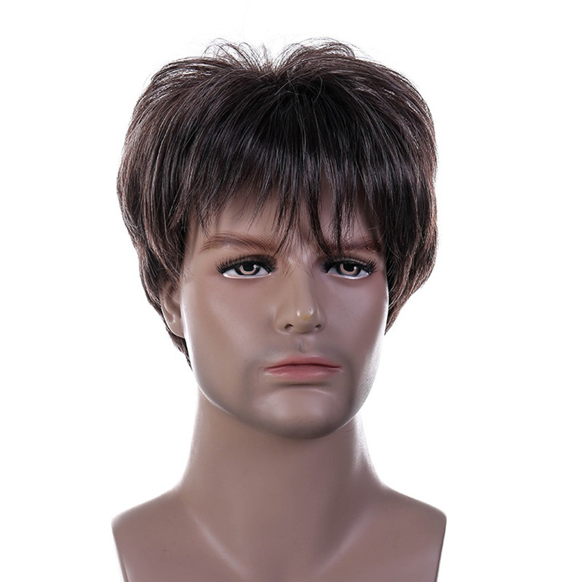 Gres Short Striaght Full Synthetic Wig for Men High Temperature Fiber Male Hair Fleeciness Realistic Wigs Brown Artificial Hair(China)