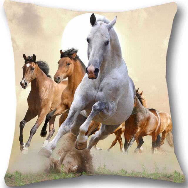 vintage running horses cushion cover home decor decorative horse