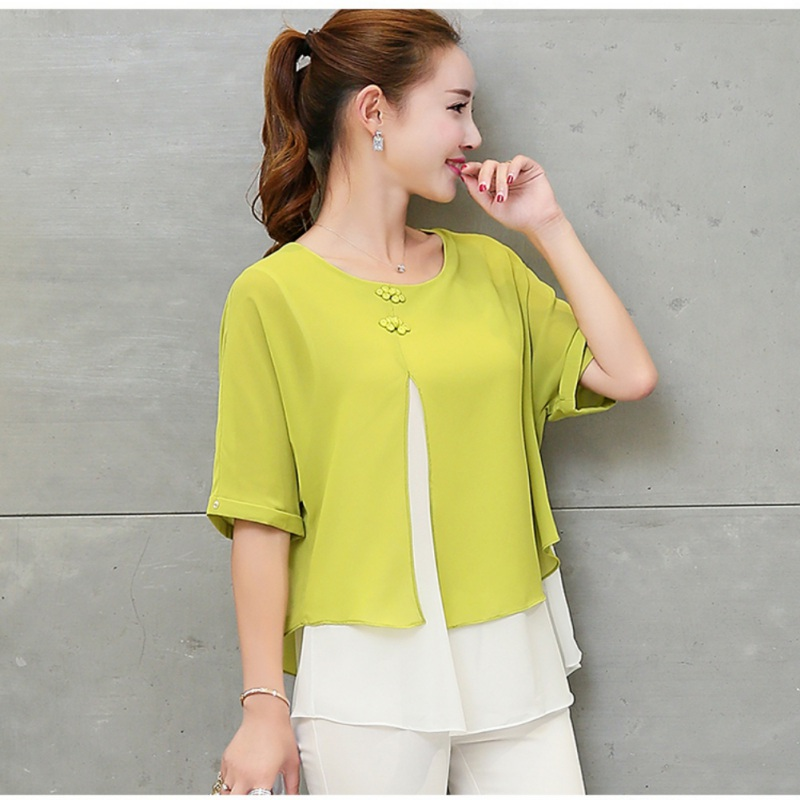 Plus Size Fashion Two Layer Ladies Tops Buttons Blusas Summer Loose Casual Women Chiffon Blouses Shirt Batwing Sleeve 4XL