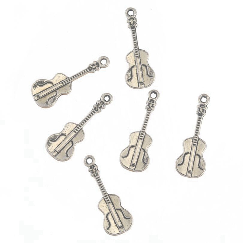 Charms 10pcs Antique Silver Alloy Violin Instruments Charm Pendant Necklace Jewelry Findings Accessories