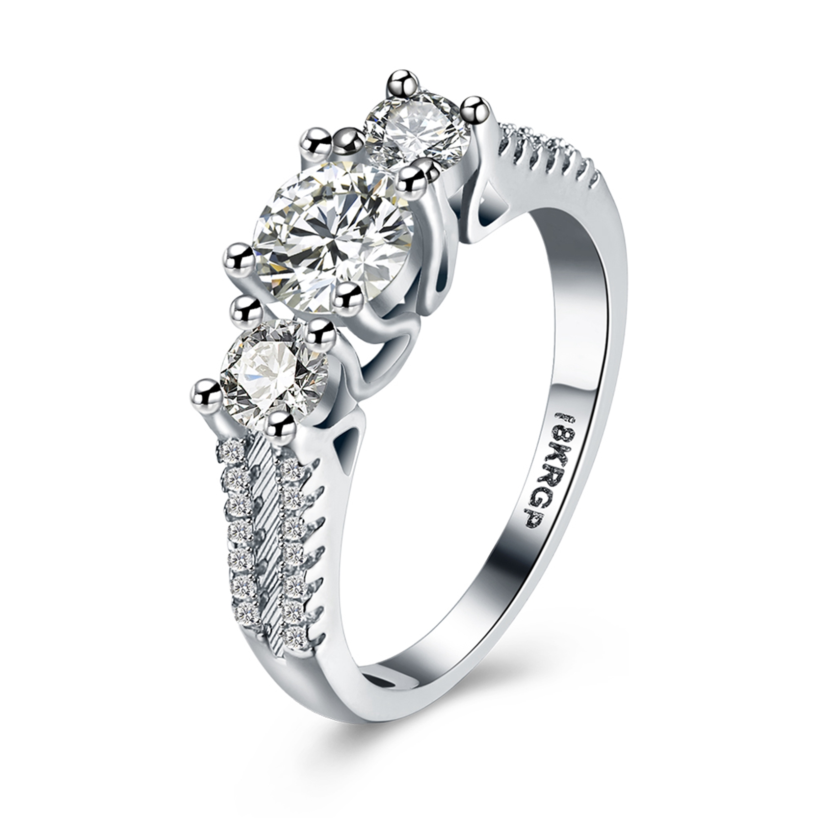 DROLE High quality Silver Color CZ Rings Top Design Bridal Wedding 3 Stone Engagement  Ring for