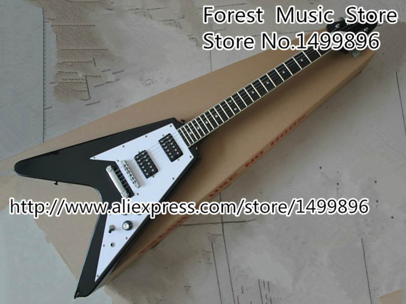 China Custom Shop Black Flying V Electric Guitar 6 String Guitar with Ebony Fingerboard China Lefty Guitar Custom Available custom shop china lp electric guitar in desert burst color quilted top guitar body lefty custom available