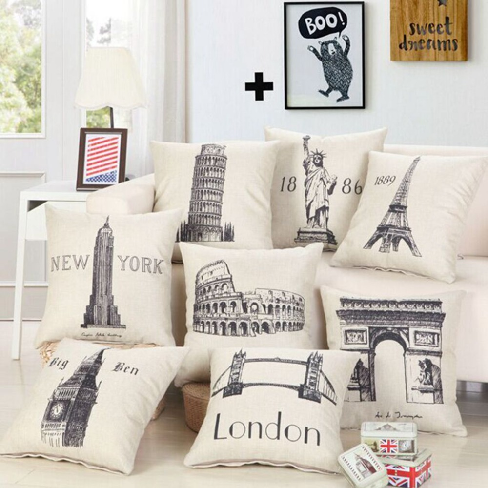Home Decor Stores New York: Great Buildings Print Pillow Cases London Paris New York