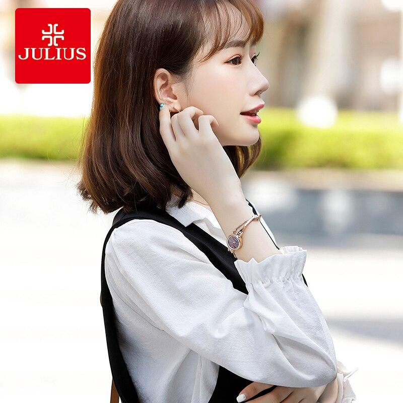 Petite montre femme japon Quartz mode heures Bracelet coupe verre strass anniversaire fille noël cadeau Julius boîte - 6