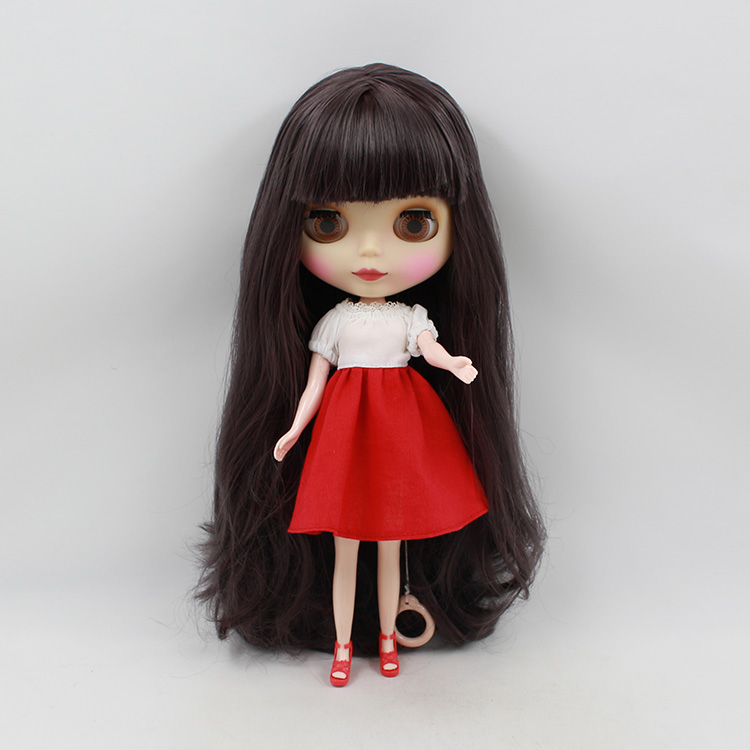 Nude Blyth doll purple bangs long hair cute bjd dolls cute dolls for girls gifts nude princess blyth doll bjd 1 6 big eyes b female long brown hair with bangs pink cheek and lip diy bjd dolls for sale