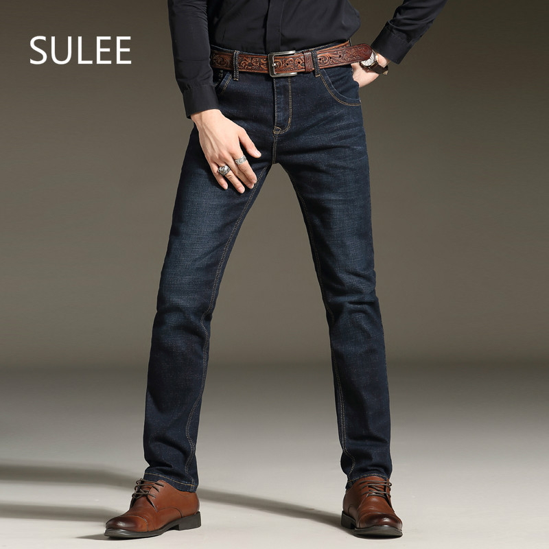 Sulee Marque 2017 Hommes de Jeans Stretch De Mode Simple D'affaires Décontractée Pantalon Slim Fit Straight Leg Moyen Lavé Denim