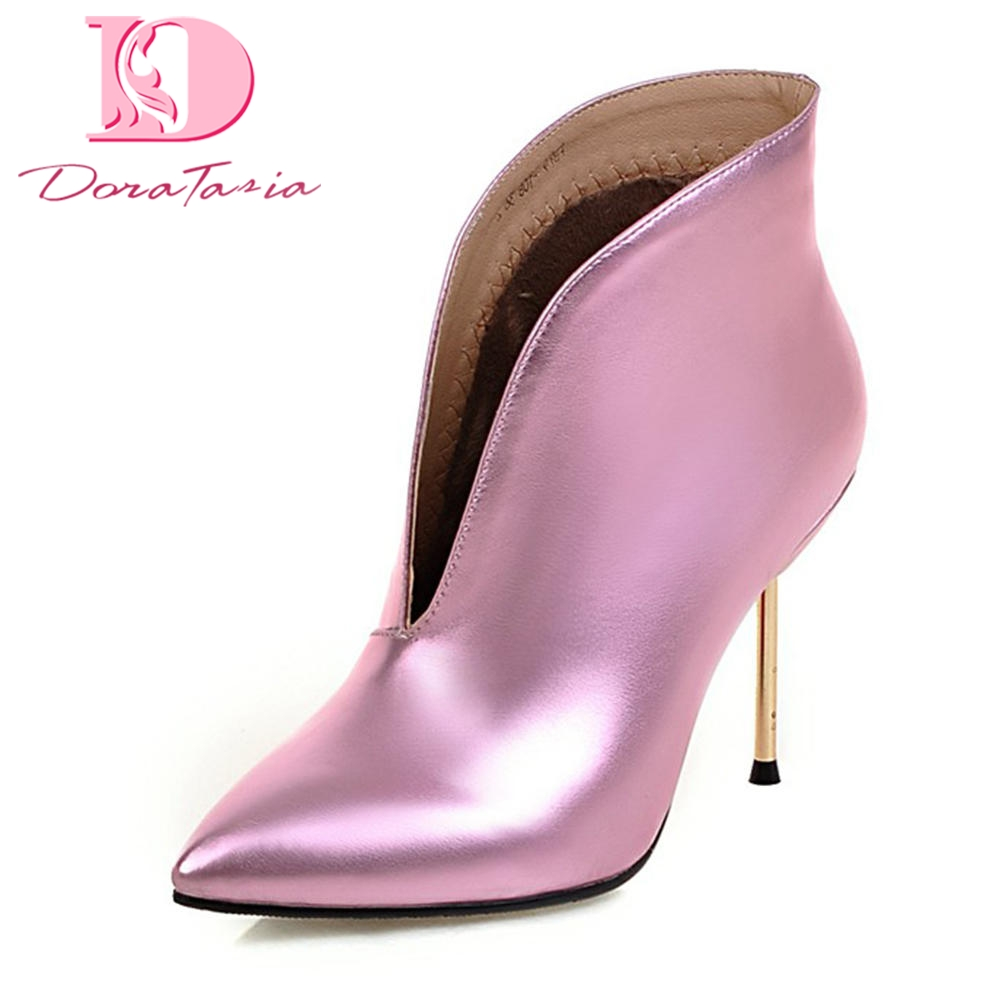 Doratasia 2018 plus size 32-43 Pointed Toe Slip On sexy Shoes Woman Boots Female Thin Heels Warm Winter party Boots Woman Shoes karinluna 2018 plus size 30 50 pointed toe square heels add fur warm winter boots woman shoes woman ankle boots female