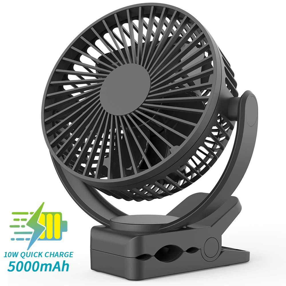 Clip Fan 5000mAh Rechargeable Battery Operated Portable Personal Fan Quiet Strong Wind 7 Blade Outdoor Camping Office Operation