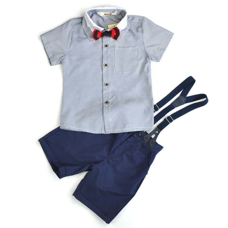 Boys Set Summer Baby Boy Bowtie Shirt overalls Pants 2-8Y Children Clothing Sets Kids Tees Shorts Clothes Suits Formal Costume baby boys kids formal suits summer boy gentleman clothes set short sleeve shirt gray overalls trousers outfit for children