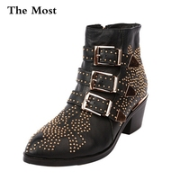 THEMOST Winter Genuine Leather Buckle Ankle Boots For Women Pointed Toe Kitten Heels Motorcycle Boots Shoes