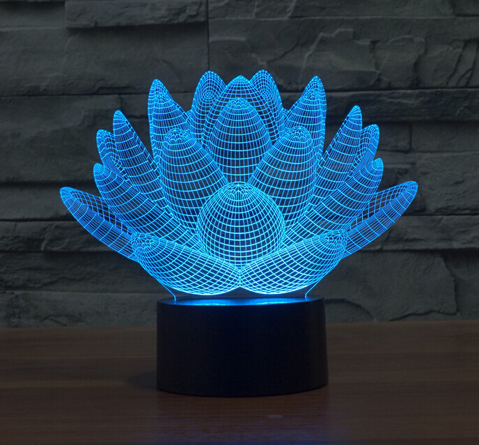 Flowers Lotus LED Night Light Luminaria 3D Illusion Lamp ...