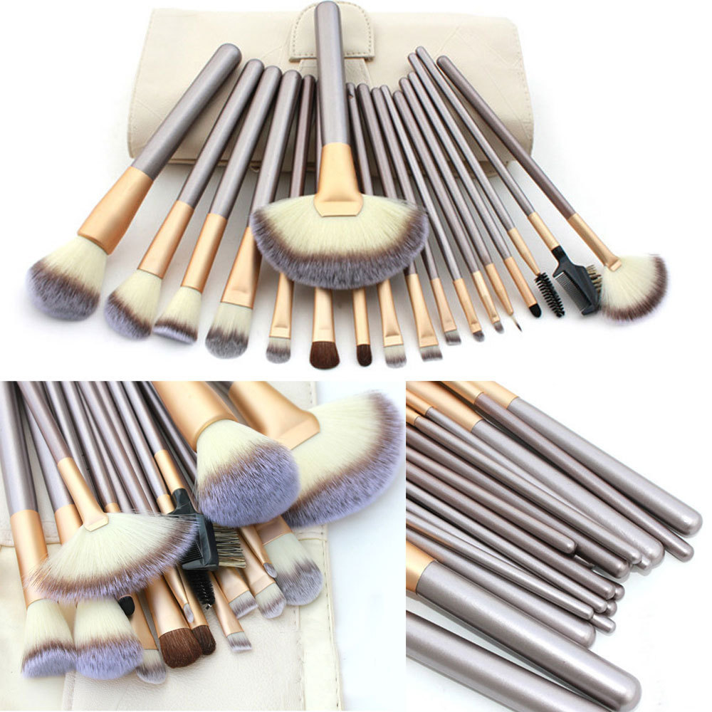 Professional Luxury Makeup Brushes Set Champagne Makeup Brushes Cosmetic Brush Beauty Maker pinceis maquiagem Makeup Tool + Bag 4 pcs golden professional makeup brushes waistline sculpting brush set cosmetic tool maquiagem accessories with original box