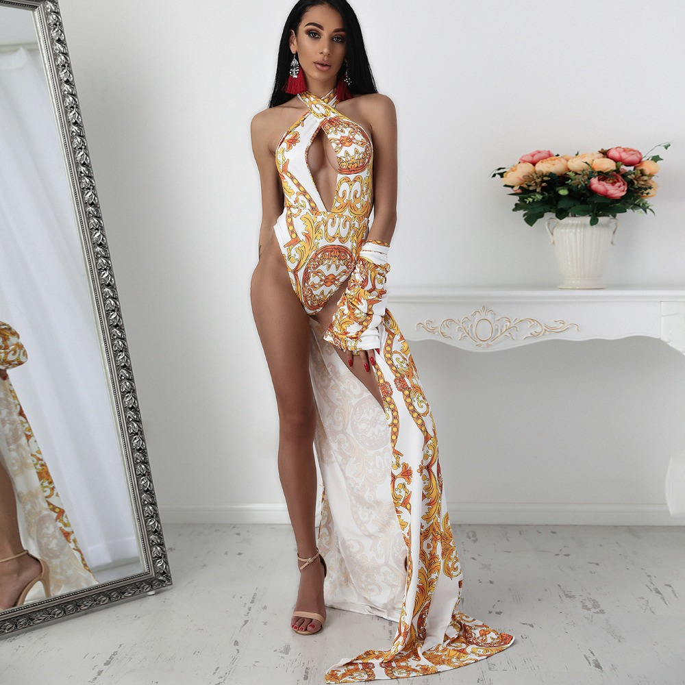 2018 Summer Beach New Fashion 2PCS Cover Ups Swimwear Plus Size Retro Print Cutout Two-Piece Cover Up Swimsuit