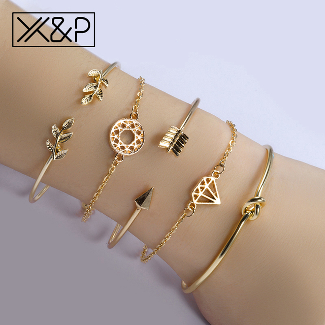 X&P Fashion Gold Cuff Link Chain Charm Bracelets Bangle for Women Bohemia Leaf Knot Arrow Round Femme Bracelets Jewelry Gift
