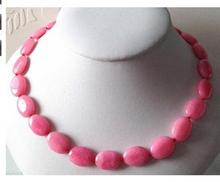 Women jewelry choker anime gem chocker maxi collier Stunning Natural 13x18mm Pink Jade Oval Beads Necklace