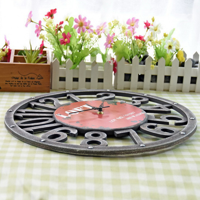2016 American countryside style digital silience unframe wall clock fashion home decoration clock round shape retro  wall clock