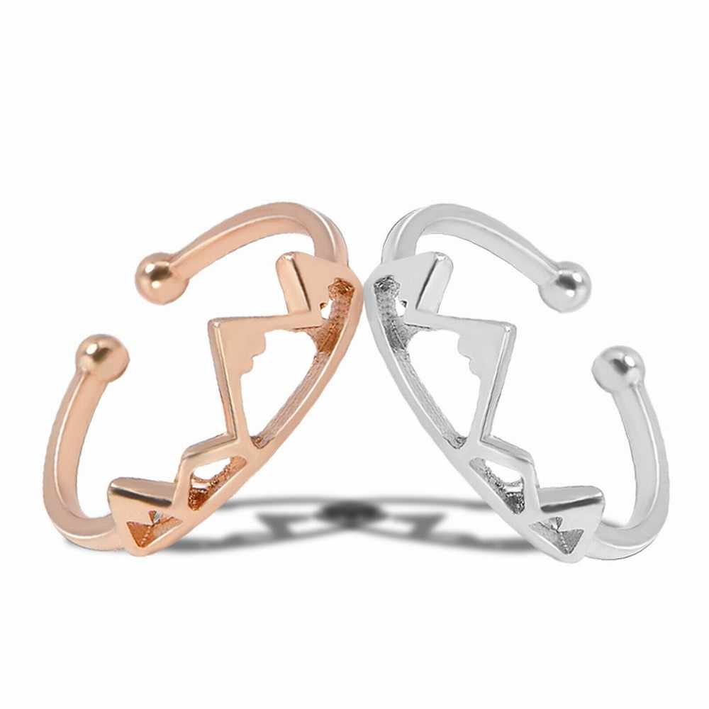 Fashion Women Girl's Simple Creative Open Adjustable Mountain Peak Crown Rings Wedding Party Clothing Accessories
