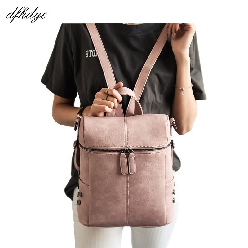Women Fashion Backpack Simple Style Pu Leather Backpacks For Teenagers Girls School Bags Fashion Vintage Back Pack Bagpack
