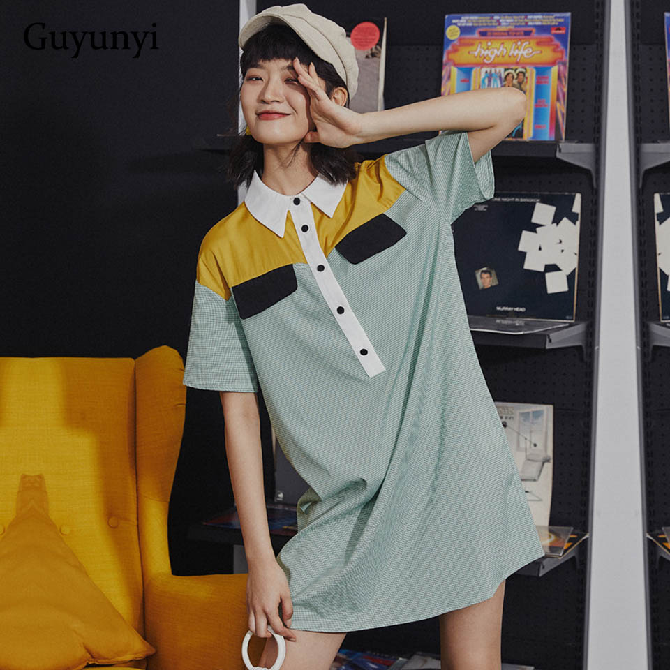 Leisurely Vacation Preppy Style Dress Summer 2019 Simple Contrast Stitching Vintage England Shirt Dress Women