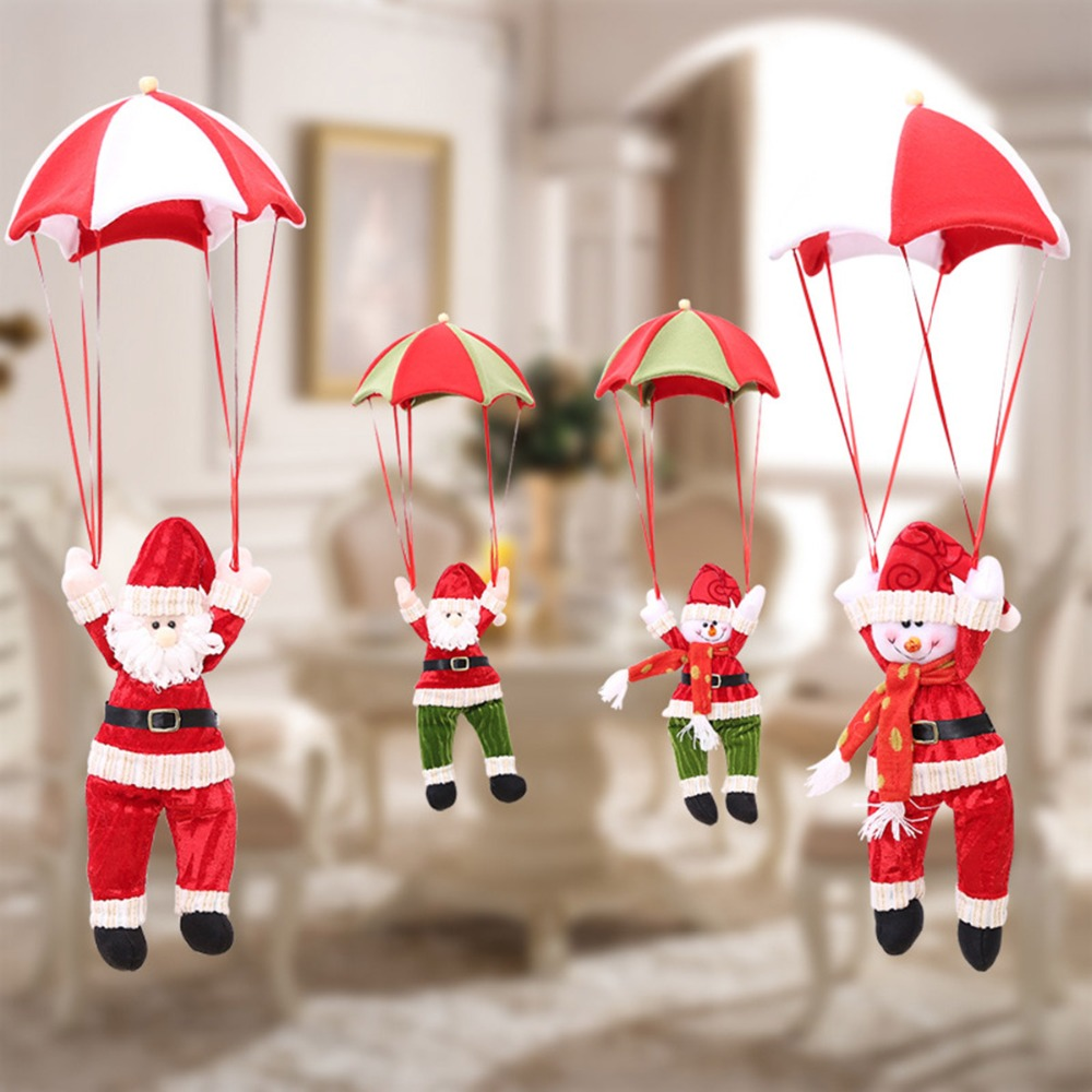 Red Christmas Tree Decor For Yard Indoor Outdoor Snowman Santa Claus Airborne Parachute Xmas Decoration Ornaments Supplies