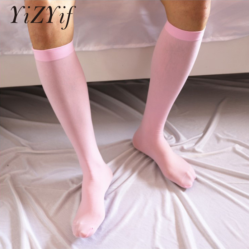 Silky Thin Men Socks Mens Summer Ultra Thin High Stretchy Smooth Over-the-Calf Business Nylon Socks Gifts For Men Long Socks Men