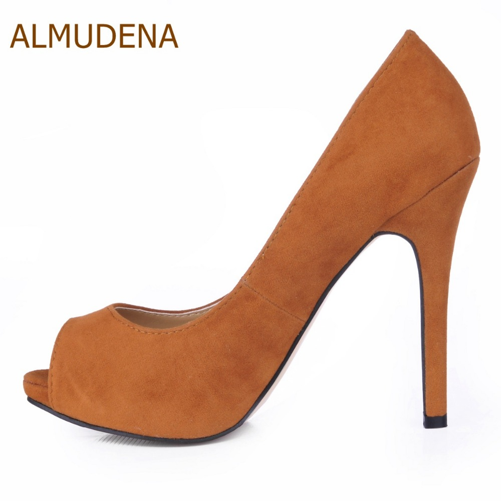 Daim solide Peep Toe chaussures à talons hauts marron rose Simple confortable robe Banquet pompes de base
