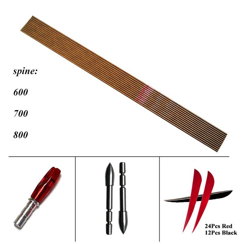 12pcs Linkboy Archery Pure Carbon Arrows ID4 2mm 3inch Turkey Feather Tips 80gr DIY Accessories Recurve
