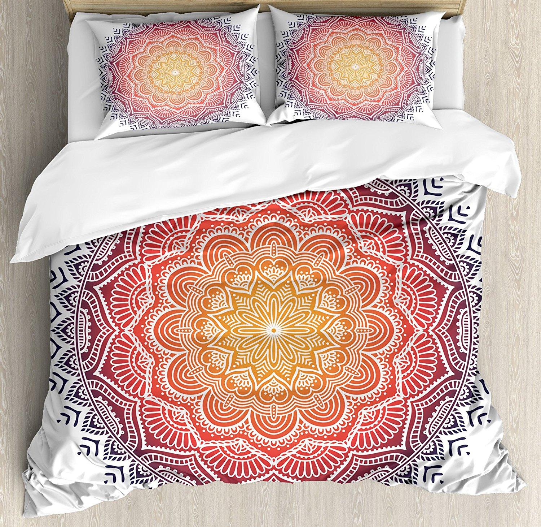 Mandala Decor Duvet Cover Set Geometric National Kaleidoscope Motif with Gradient Tone Effects Petal Heart Forms Bedding Set