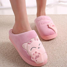 Women Winter Slippers ladies Plush Cute Cat Slippers Indoor Lovely Warm Home Men Woman Animal Shoes House SIZE 35-45 pink blue(China)
