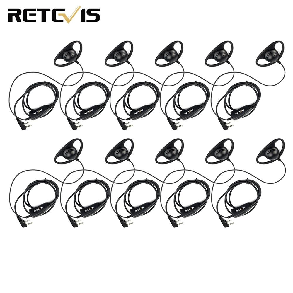 10 pièces rechape K-316 2 broches oreille crochet micro casque pour Kenwood rechape H777 Baofeng UV-5R talkie-walkie C9031