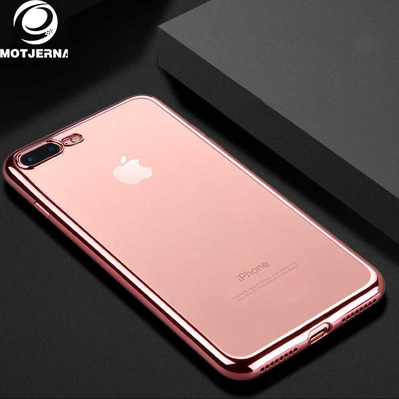 Motjerna Plating Frame Silicone Transparent Phone Case For iPhone 7 6 6S 8 Plus X 5S 5 S SE Soft TPU Phone Cases Combo Armor