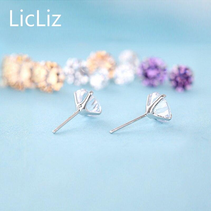 LicLiz-100-925-Sterling-Silver-CZ-Stud-Earrings-For-Women-Jewelry-Simple-Cubic-Zircon-Ear-Piercing-Post-Earrings-Classic-LE0285-5