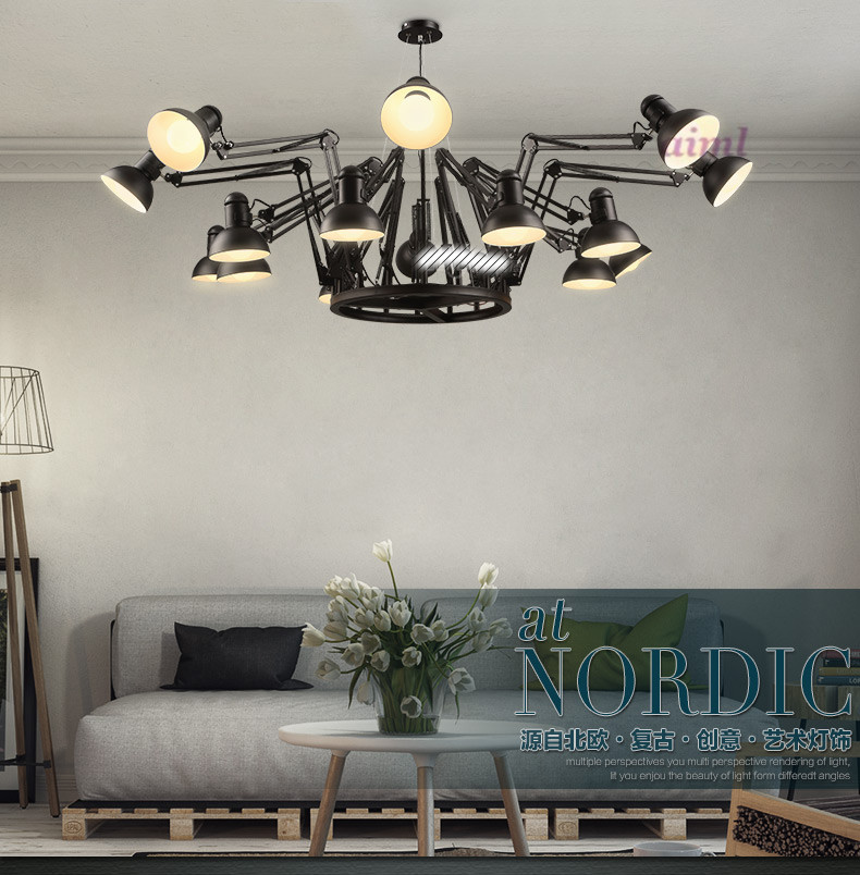 Vintage clothing store office chandelier bar and restaurant industry creative personality spider telescopic Iron Chandelier the cafe shop vintage clothing store small chandelier bar loft iron chandelier geometry character