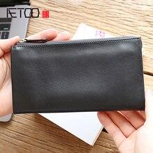 AETOO Head cowhide long wallet young man hand grab bag simple high-grade zipper leather hand bag