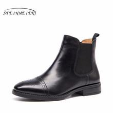 Genuine cow Leather Ankle women chelsea Boots flats shoes Comfortable Designer Handmade with fur brown black 2018 winter(China)