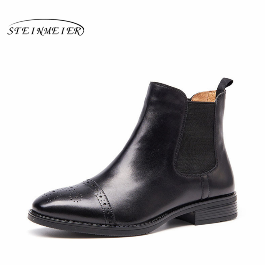 Genuine cow Leather Ankle women chelsea Boots flats shoes Comfortable Designer Handmade with fur brown black 2018 winter
