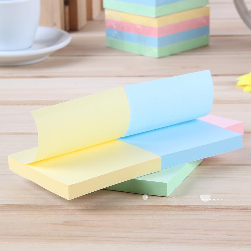 1 Pack 4 Pcs 4 Colors 400 Sheets Diary Stickers Self-Adhesive Sticky Notes 76x76mm Memo Pads Deli 7151 deli 100 sheets 9085 self adhesive memo pads sticker paper note decoration school