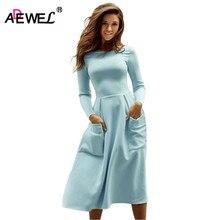 ADEWEL 2019 Spring Women Simple Casual Long Dresses Female Sleeve Pockets Skater Dress Elegant Pleated Midi Vestido