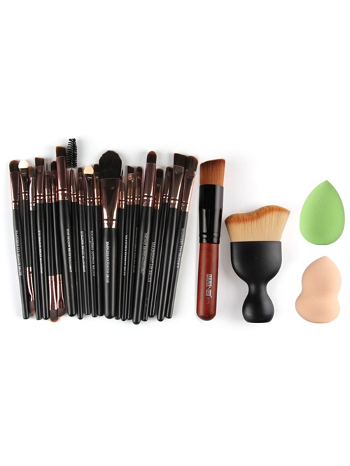 Practical Basic 22pcs Facial Cosmetic Tool Set with Facial Makeup Brushes Shadow 2pcs Powder Cosmetic Puff Suits 2017 New bob cosmetic makeup powder w puff mirror ivory white 02