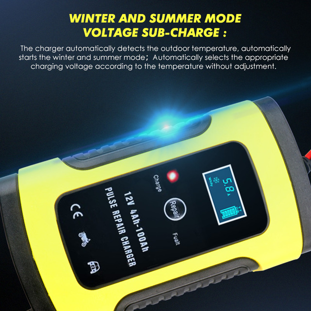 2PC Full Automatic Car Battery Charger 110V To 220V To 12V 6A LCD Smart Fast for Auto Motorcycle Lead-Acid Batteries Charging 1