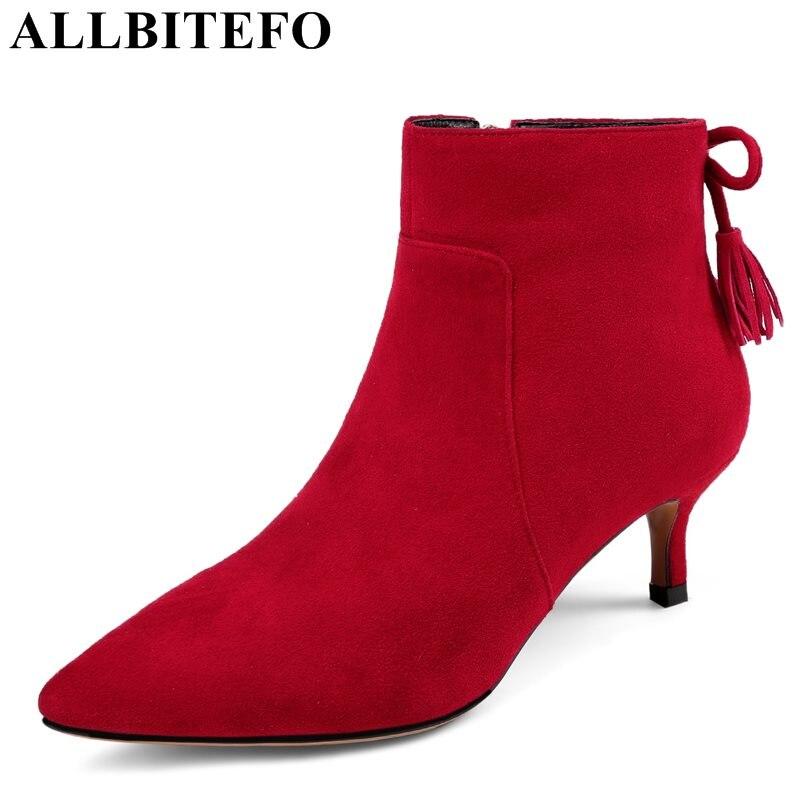 ALLBITEFO Nubuck leather pointed toe medium heel women boots brand tassel thin heel ladies boots girls