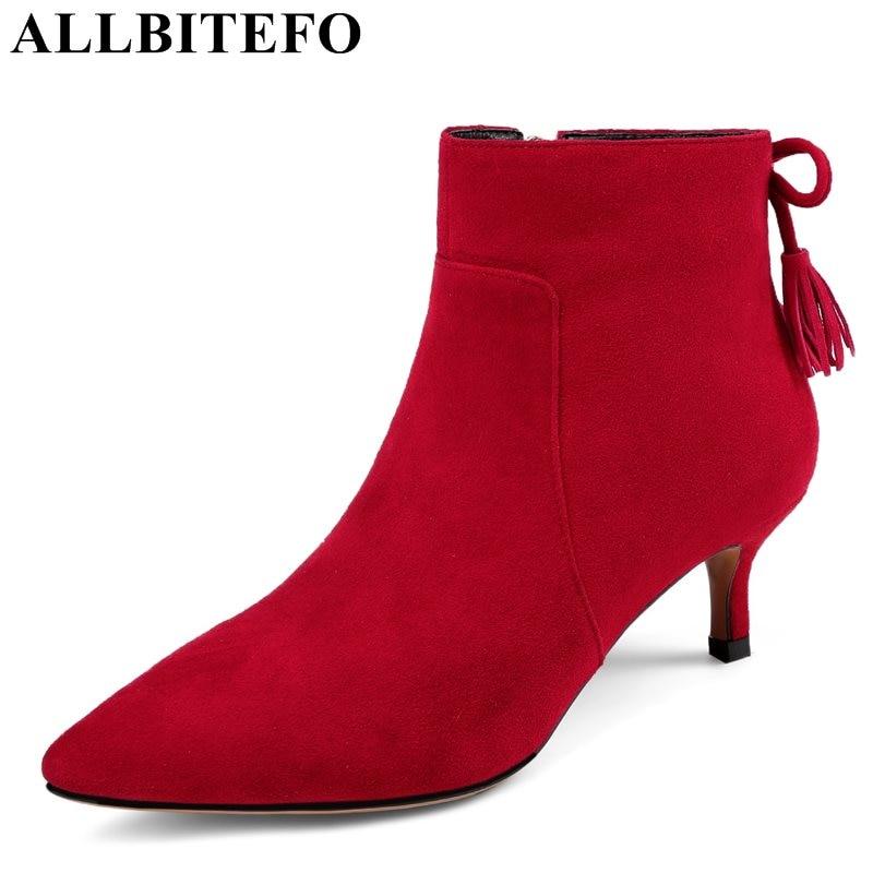 Allbitefo/из нубука с острым носком на среднем каблуке Женские ботинки Марка кисточкой на тонком каблуке Ботинки Martin для девочек сапоги bota de Neve
