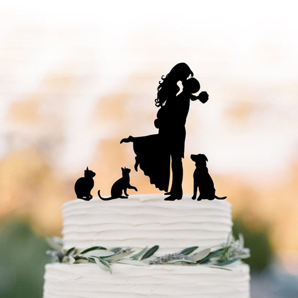 Family Wedding Cake topper, Couple and two cats with dog Cake Topper silhouette, cake topper bride and groom kissing silhouetteFamily Wedding Cake topper, Couple and two cats with dog Cake Topper silhouette, cake topper bride and groom kissing silhouette