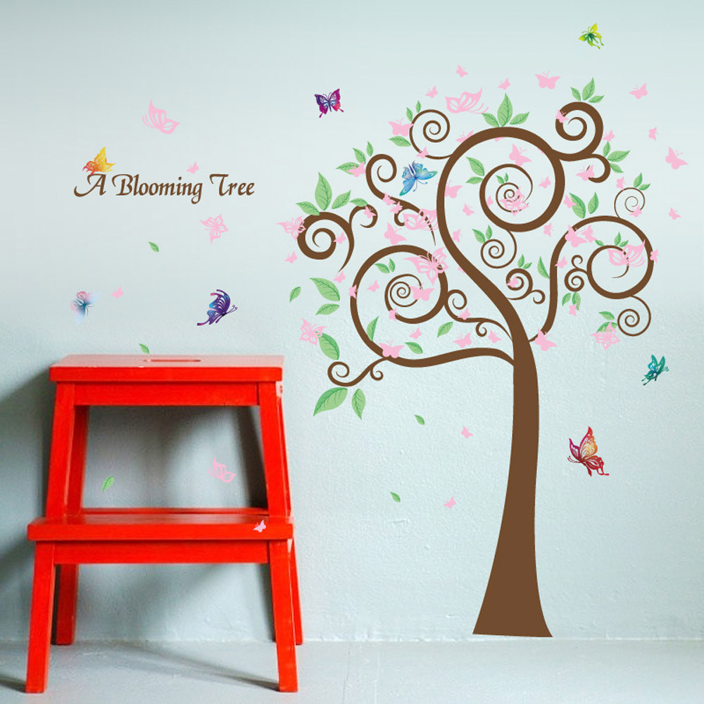 90 X 22 Large Vine Butterfly Wall Decals Removable: Colorful Tree Butterfly Removable Home Decor Wall Sticker
