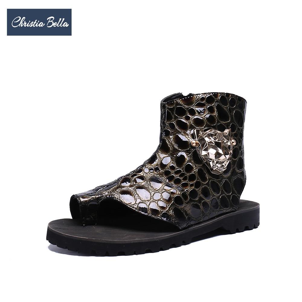 Christia Bella 2018 New Fashion Men Genuine Leather Sandals Large Size Rome Gladiator Men Sandals Designer Casual Ankle Boots